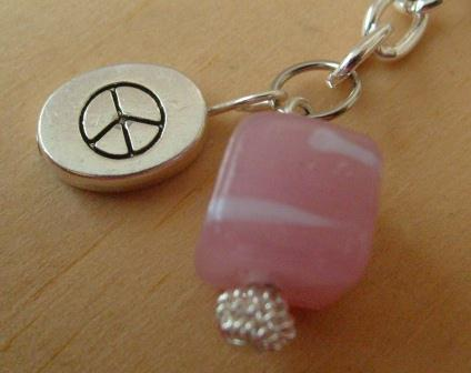 pink bead and peace sign